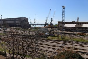 The view from the top of the building - railway station and the Port of Rijeka